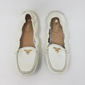 Prada Womens Ivory Cream Drivers Moccasins Shoes